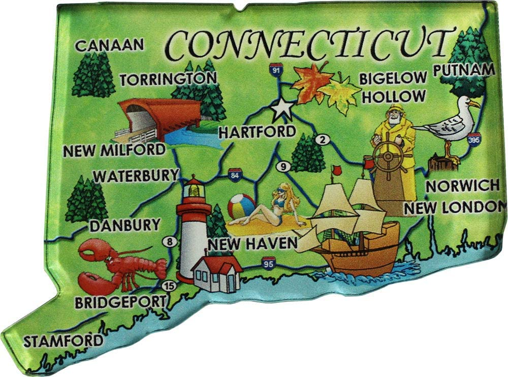Flagline Connecticut - Acrylic State Map Refrigerator Magnet
