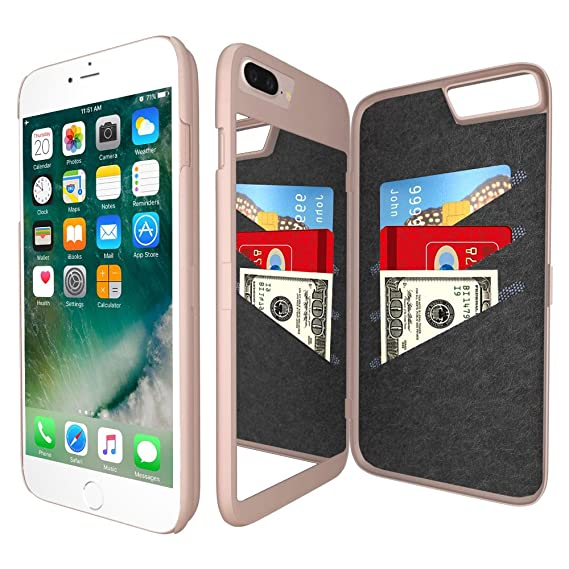 iPhone 7 Plus Mirror Wallet Case for Women - Spessn Enclosed Mirror Back  Cover with 3 47bc70ed3