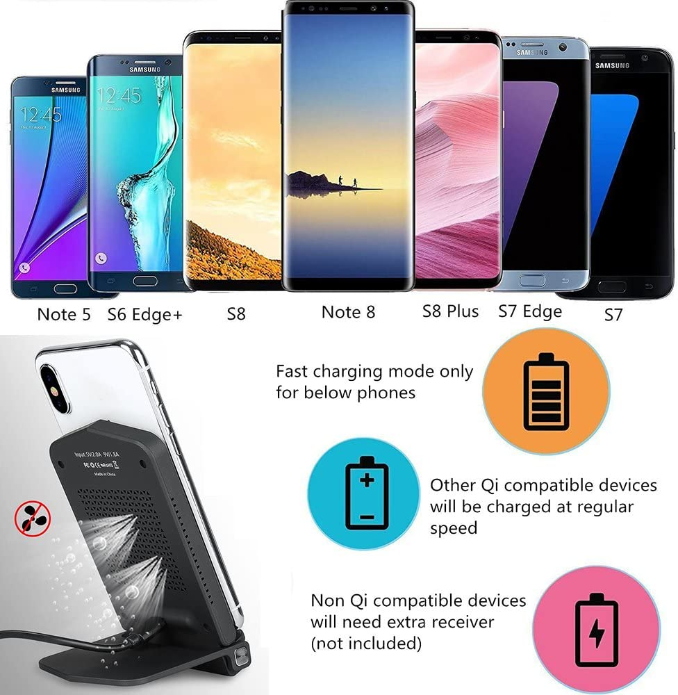 Foldable 10W Fast Wireless Charger iBosi Cheng Qi Fast Wireless Charging Stand/ Compatible with Galaxy S9//S9+//S8//Note 8//S7//S7 Edge Standard Qi Charger Compatible with iPhone X //8//8 Plus