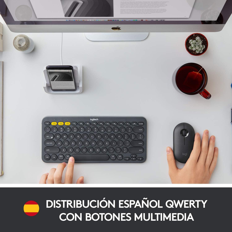 Logitech K380 Teclado Inalámbrico Multi-Dispositivos para Windows/Apple iOS/Android/Chrome, Bluetooth, Diseño Compacto, ...