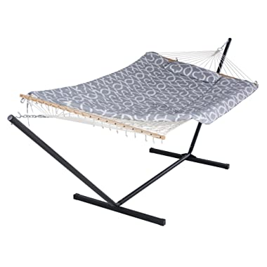 SUNCREAT Cotton Rope Hammock with 12 Foot Steel Stand, Includes Pad and Pillow, iPad Bag and Cup Holder-Grey