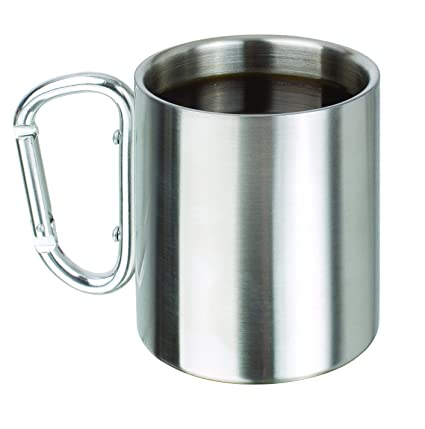 2beffd11975 Ideas In Life Stainless Steel Carabiner Mug - 8 Oz. Portable Travel Water  Coffee Cup