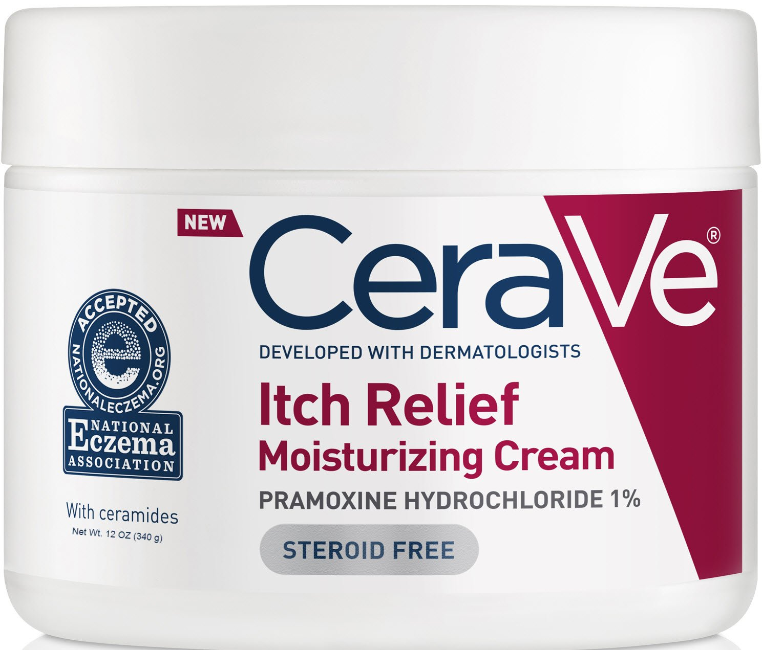 CeraVe Moisturizing Cream for Itch Relief | 12 Ounce | Dry Skin Itch Relief Cream with Pramoxine Hydrochloride | Fragrance Free by CeraVe