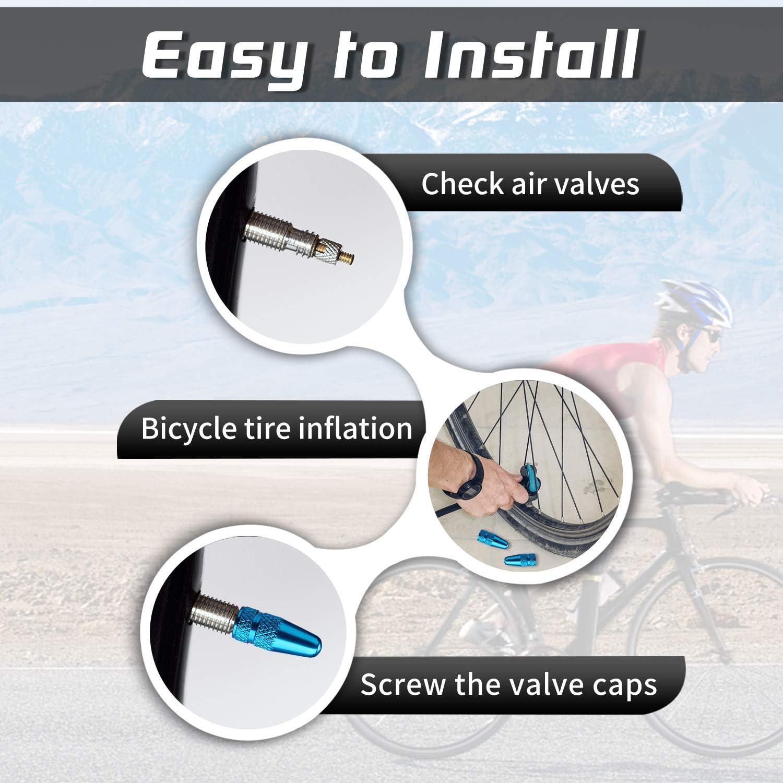 Presta Valve Caps Aluminum Anodized Colorful Bike Air Dust Valve Stem Covers Fit Presta//French MTB Mountain//Road Bike-Fully Thread Rocket Design 5 Pack