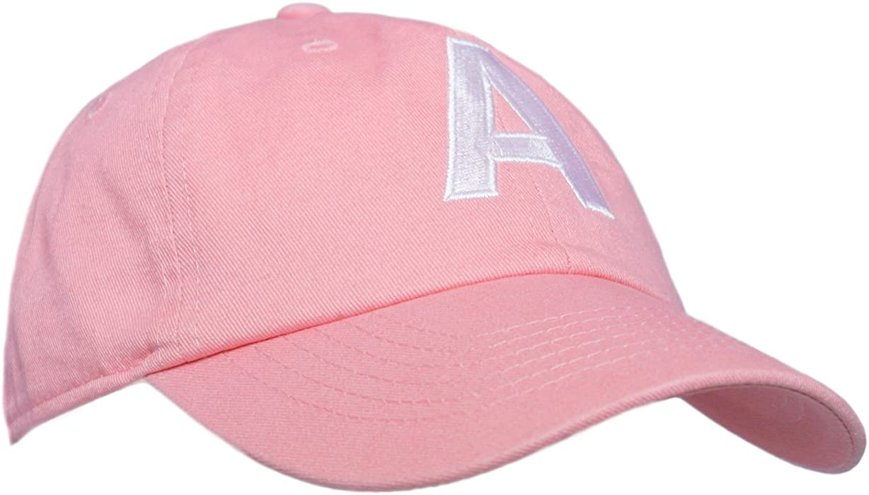 a06cab8f7c25e Tiny Expressions Toddler Girls  Pink Embroidered Initial Baseball Hat  Monogrammed Cap (A