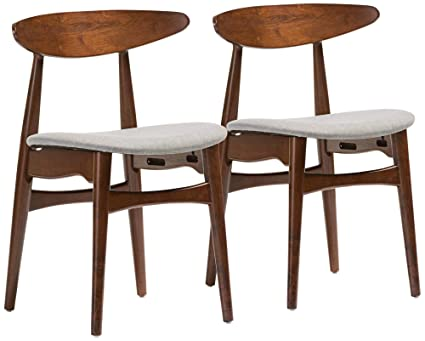 Astounding Amazon Com Baxton Studio Flora Gray Fabric Oak Dining Gmtry Best Dining Table And Chair Ideas Images Gmtryco