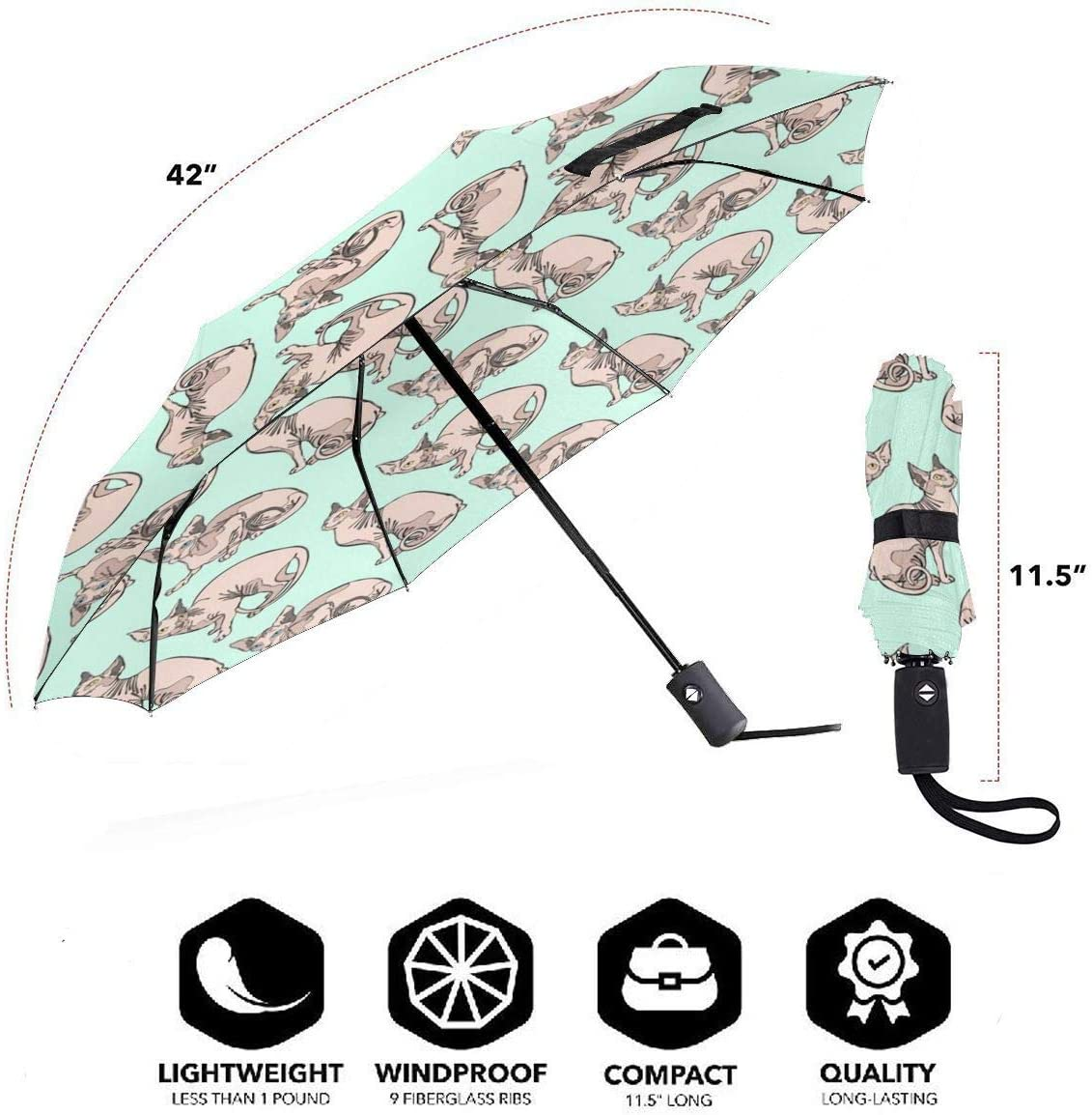 Sphynx Cats Automatic Open Folding Compact Travel Umbrellas For Women