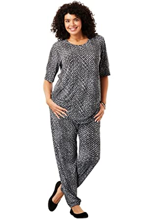1794d287ec8 Woman Within Plus Size Two-Piece Jog Pants Set at Amazon Women s ...