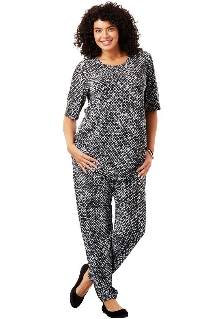 Women's Plus Size Two-Piece Jog Pants Set Grey Tie-Dye Geo,2X