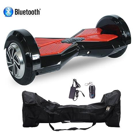 Cool&Fun Patinete Eléctrico Scooter Auto-Equilibrio 2 Ruedas 8 Pulgadas LED Bluetooth(Negro Rojo)