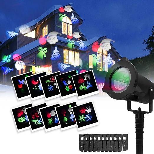 Luces de Proyector de Navidad para exteriores, 10 Diapositivas, 4 ...