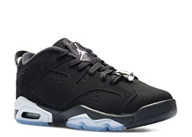 acheter en ligne fb910 58258 Nike Boys Air Jordan 6 Retro Low BG Chrome Black/Metallic Silver-White  Leather