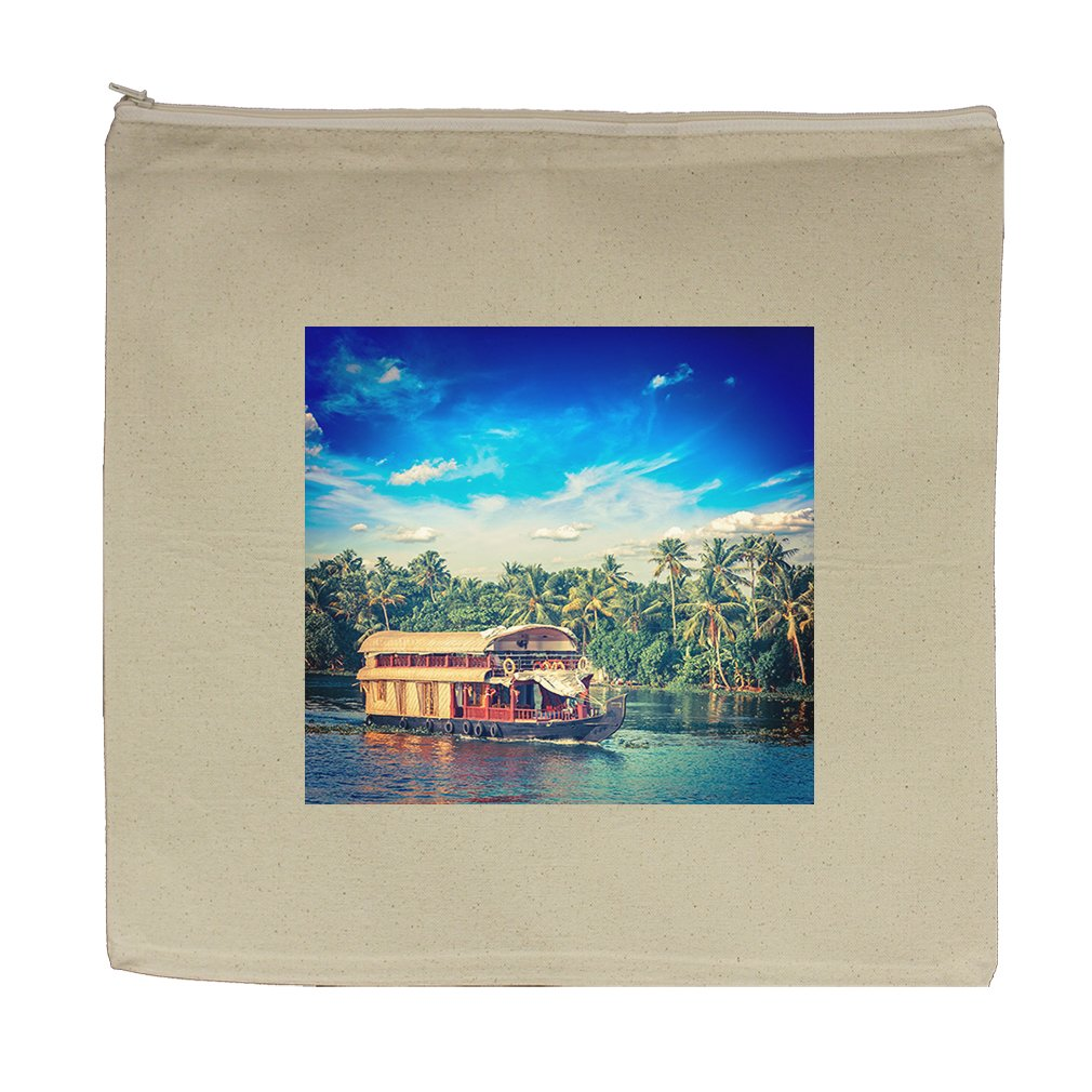 Canvas Zipper Pouch Tote Bag 5.5''X7.5'' Houseboat On Kerala Backwaters India