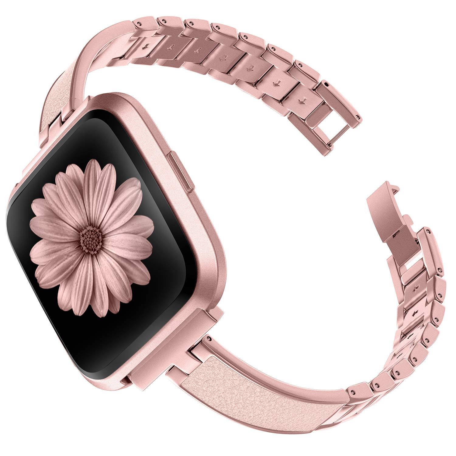 TOYOUTHS Stylish Bracelet Compatible with Fitbit Versa/Versa 2 Bands Women Slim Strap Replacement Wristbands for Versa Lite Special Edition Stainless ...