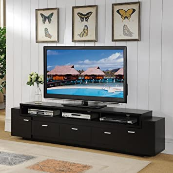 Furniture Of America 84 Inch Peyton Modern Tiered TV Stand Cappuccino