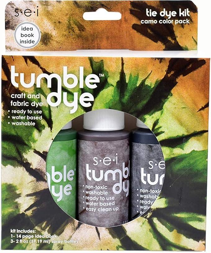 SEI Juego de tinturas para Manualidades y Telas Tumble Dye, 60 ml, rinde 3 kg de Prendas, Color Camuflaje