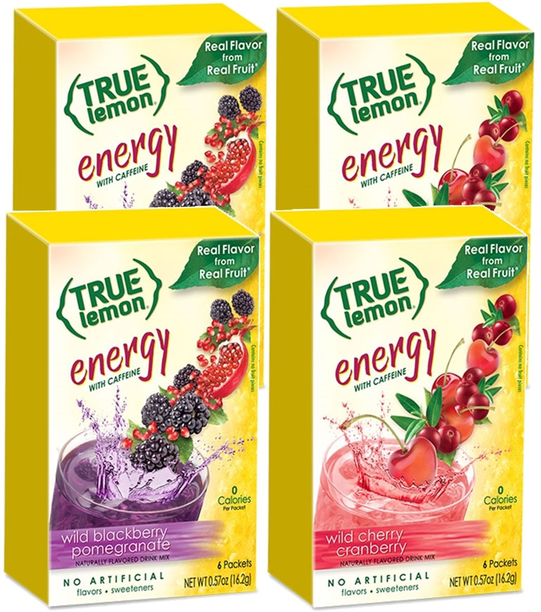 True Lemon (Energy Drinks) Wild Cherry Cranberry & Wild Blackberry Pomegranate 2 boxes EACH flavor (4 boxes total), 24ct instant powdered drink mix packets total, by True Citrus