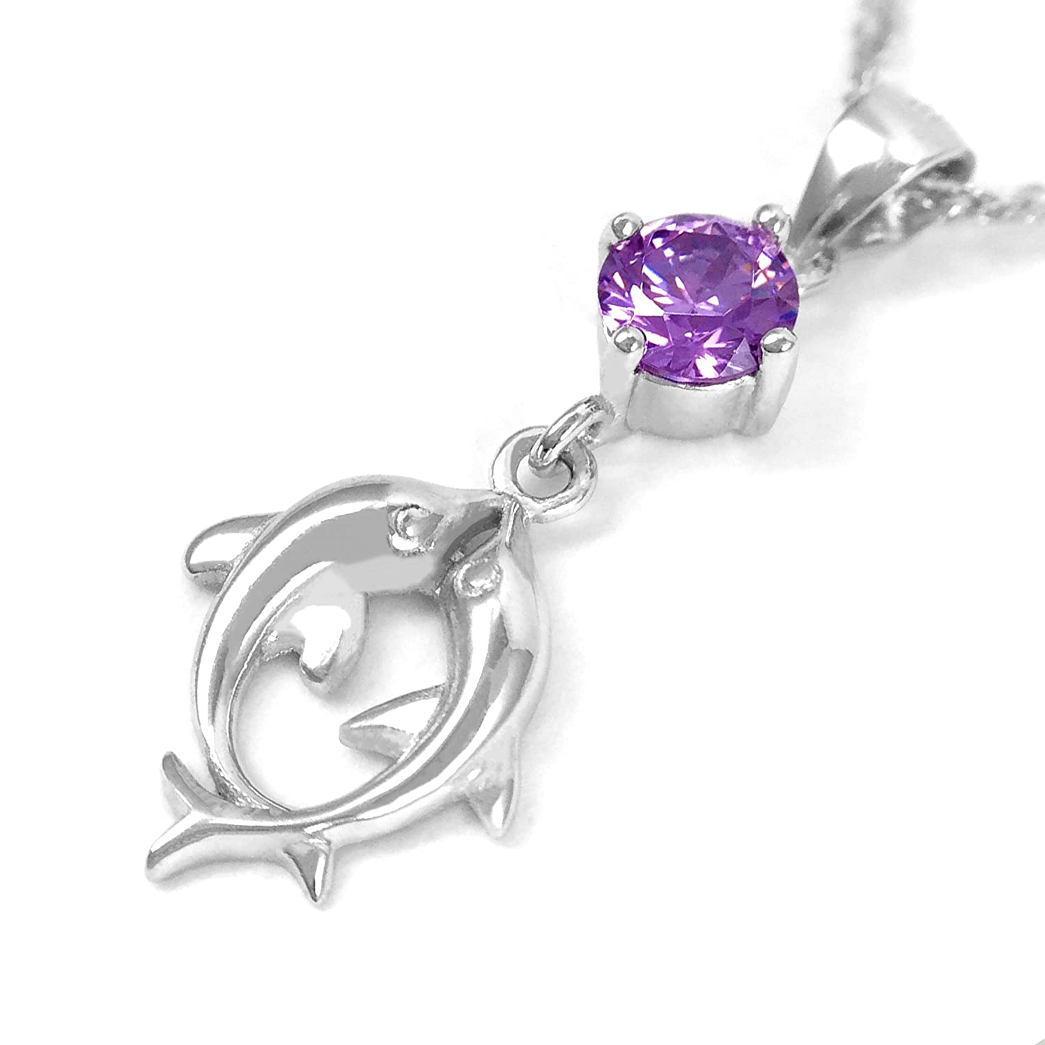 Pearl of Dream Kissing Dolphins Purple Sterling Silver Pendant Necklace