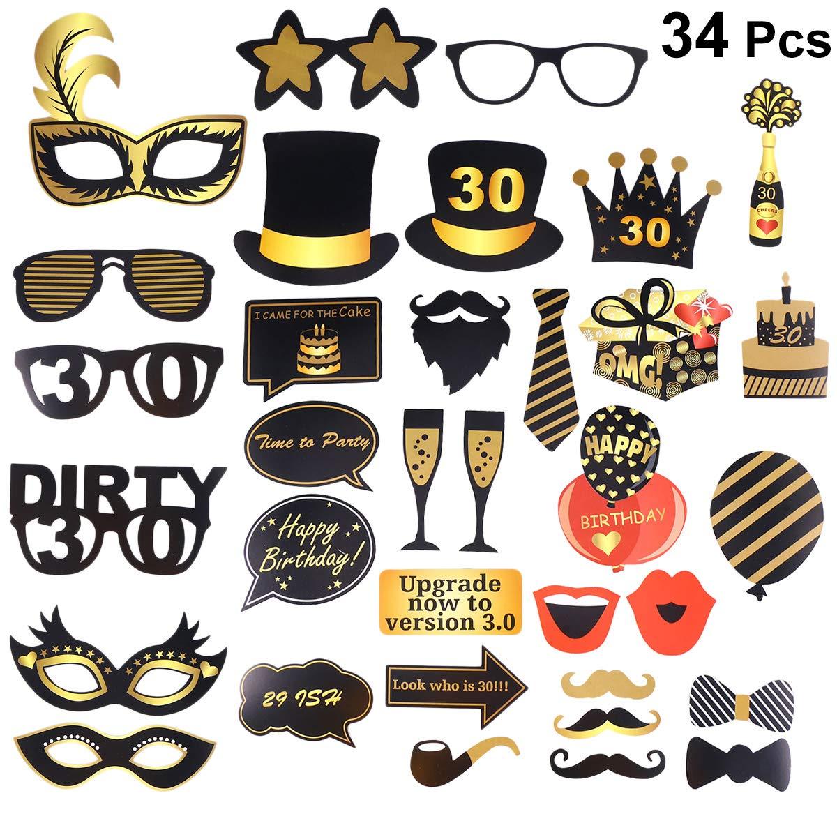 Amosfun Accesorios para Fotos de cumpleaños DIY 30 años ...