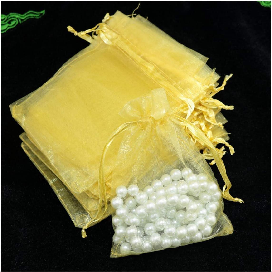 10pcs / Lot de organza bolsa de regalo de la joyería de empaquetado Bolsa decoración del partido La boda favorece Disponibles bolsa de regalo, amarillo de oro, 13x18cm