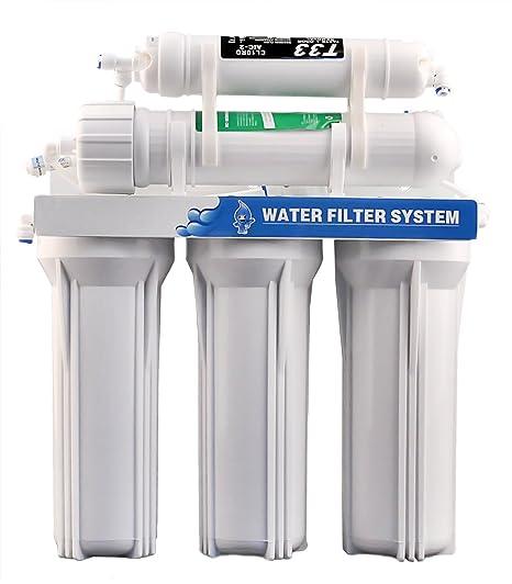 PowCube PC214 sistema de filtro de agua potable para ósmosis inversa de 5 etapas Ultra Safe - 75GPD: Amazon.es: Hogar