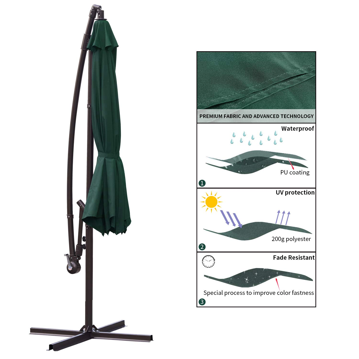 RUBEDER Offset Umbrella - 10Ft Cantilever Patio Hanging Umbrella,Outdoor Market Umbrellas with Crank Lift & Cross Base (10 Ft, Dark Green) by RUBEDER (Image #4)