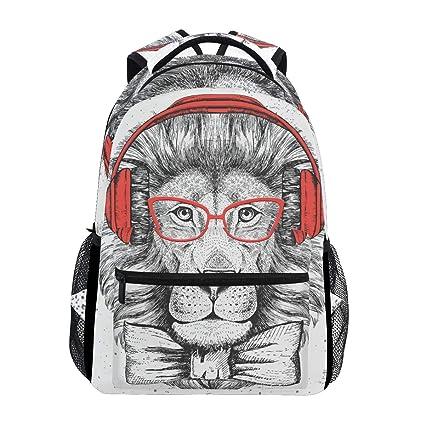 0cf57094538c Amazon.com: Backpack Travel A Gentleman Lion who Loves Music School ...