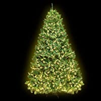 6FT LED Christmas Tree 1.8M Prelit Xmas Faux Green Tree w/ Warm White LED Jingle Jollys Holiday Lighted Decoration…