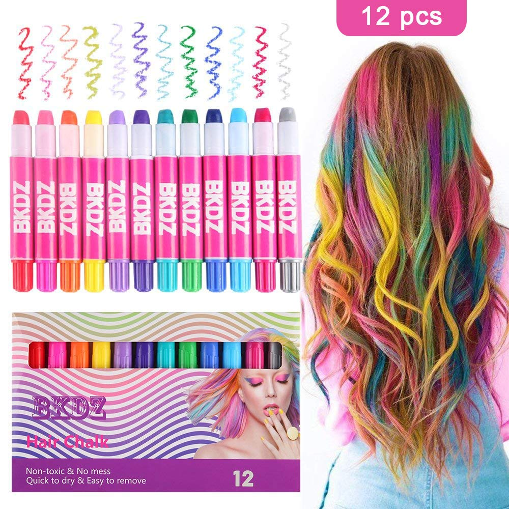Hair Chalk Color Set for Girls Kids Christmas Birthday Gifts, 12 Colors Temporary Non-Toxic Portable Hair Chalk Pens For Party and Cosplay DIY Present, Washable Hair Color Safe For Kids And Teen