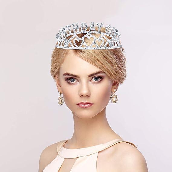 Anniversaire Glitter Couronne Fille Strass Bandeau D/écor Crystal avec Anniversaire Fille Sash