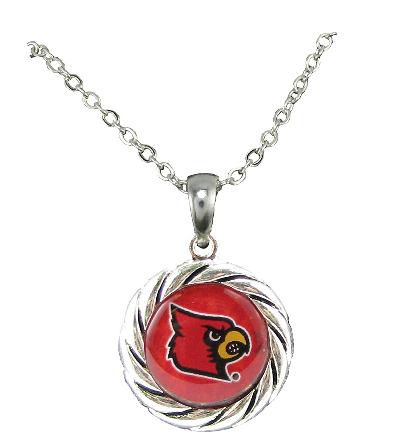 Sports Accessory Store Louisville Cardinals Red Domed Circle Silver Chain Necklace Jewelry NCAA Gift UL