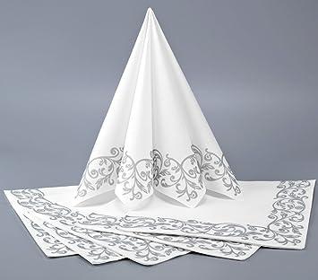 Deko Angels 12 X Servietten Weiss Silber Tischdeko Hochzeitsdeko