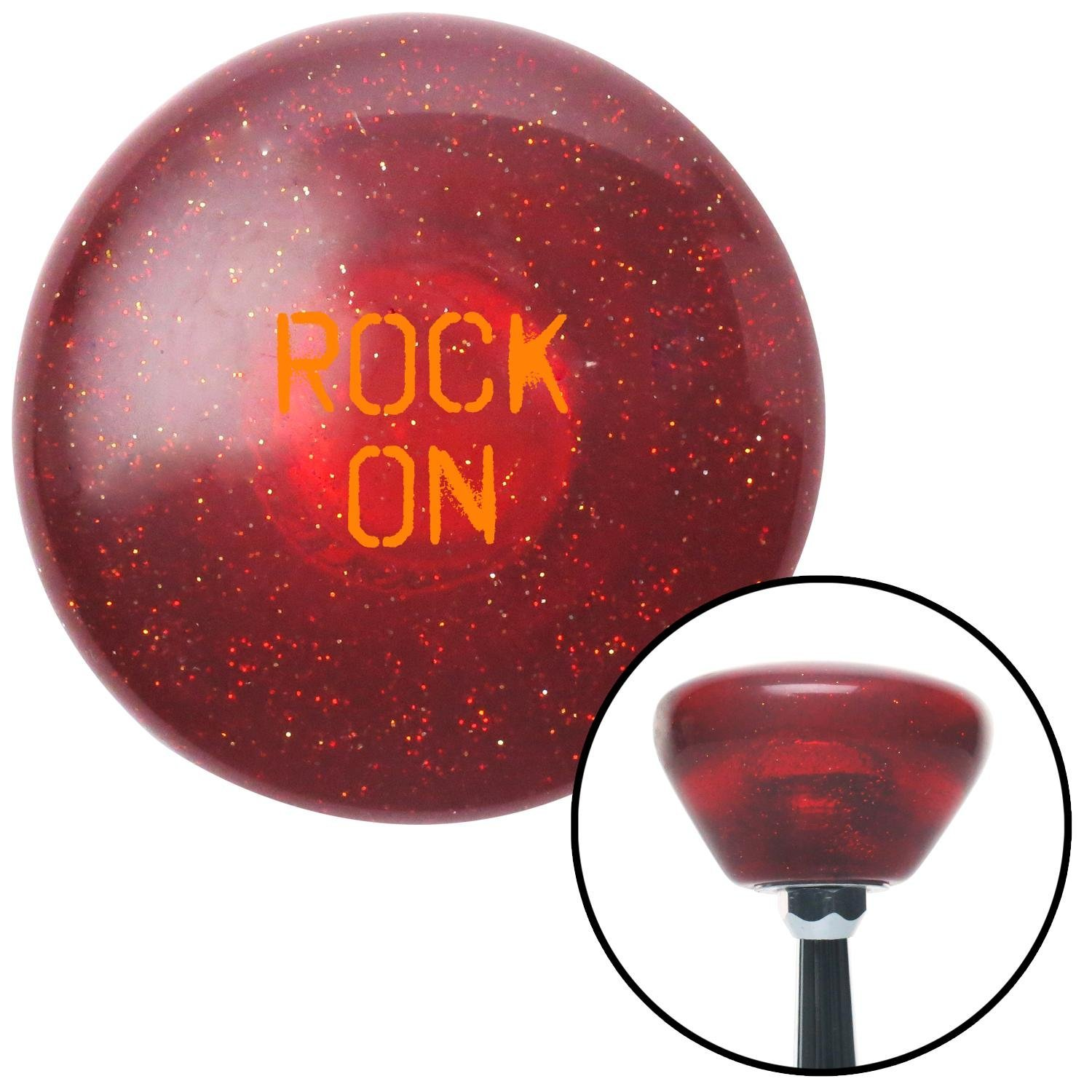 American Shifter 291329 Shift Knob Orange Rock On Red Retro Metal Flake with M16 x 1.5 Insert
