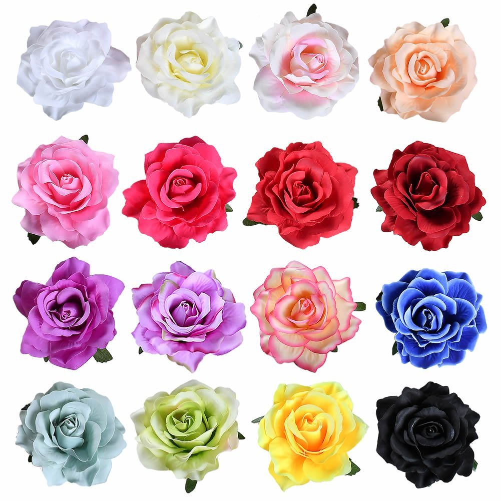 inSowni 16 Pack Big Rose Flower Hair Clips Brooch Pins Accessories for Women Girl Bridal (16PCS S1) by inSowni
