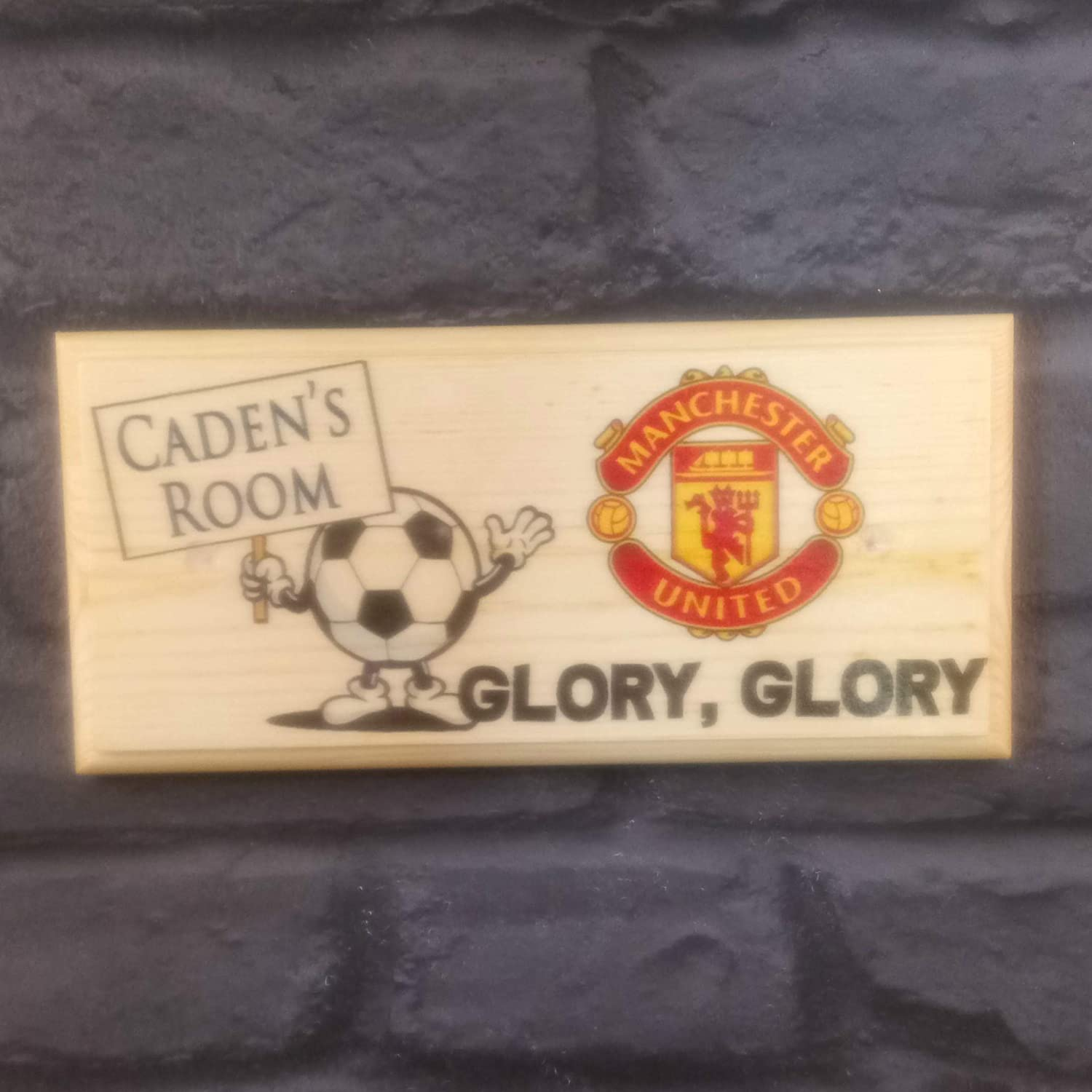 Personalised Manchester United Plaque/Sign / Gift Football Bedroom Door Room Shed