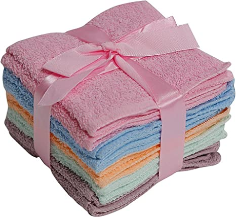 Amazon Com 100 Cotton Washcloths 10pc Set Colors May Vary Kitchen Dining