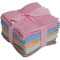 Elaine Karen 100% Cotton WASHCLOTHS, 10pc Set, Colors May Vary