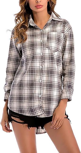 Blusas De Mujer Elegante Primavera Otoño Manga Larga Niñas Ropa De Solapa A Cuadros Camiseta Larga Tops Anchas Casual Woman Camisa: Amazon.es: Ropa y accesorios