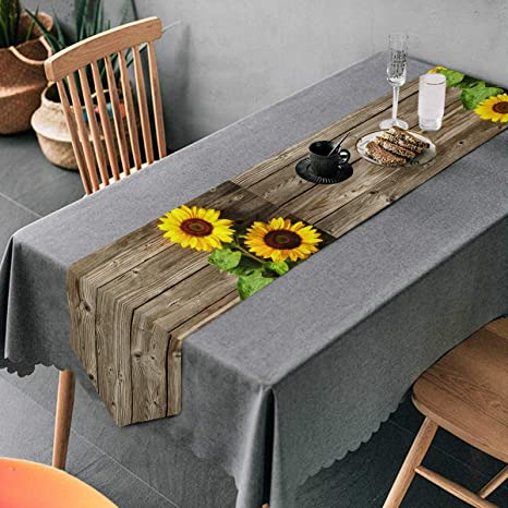 Amazon Com Aflyko Sunflower Table Runner Dining Table Decor 13 90 Home Kitchen