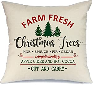 AENEY Farmhouse Christmas Pillow Cover 18x18 inch Farm Fresh Christmas Tree Throw Pillow for Christmas Decor Farm Sign Christmas Decorations Throw Pillow Cover