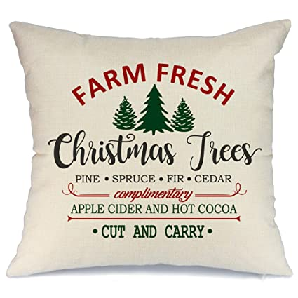 AENEY Christmas Pillow Cover 18x18 for Couch Farm Fresh and Christmas Tree Throw Pillow Farmhouse Decorations Home Decor Xmas Decorative Pillowcase Faux Linen Cushion Case Sofa Red best Christmas throw pillows