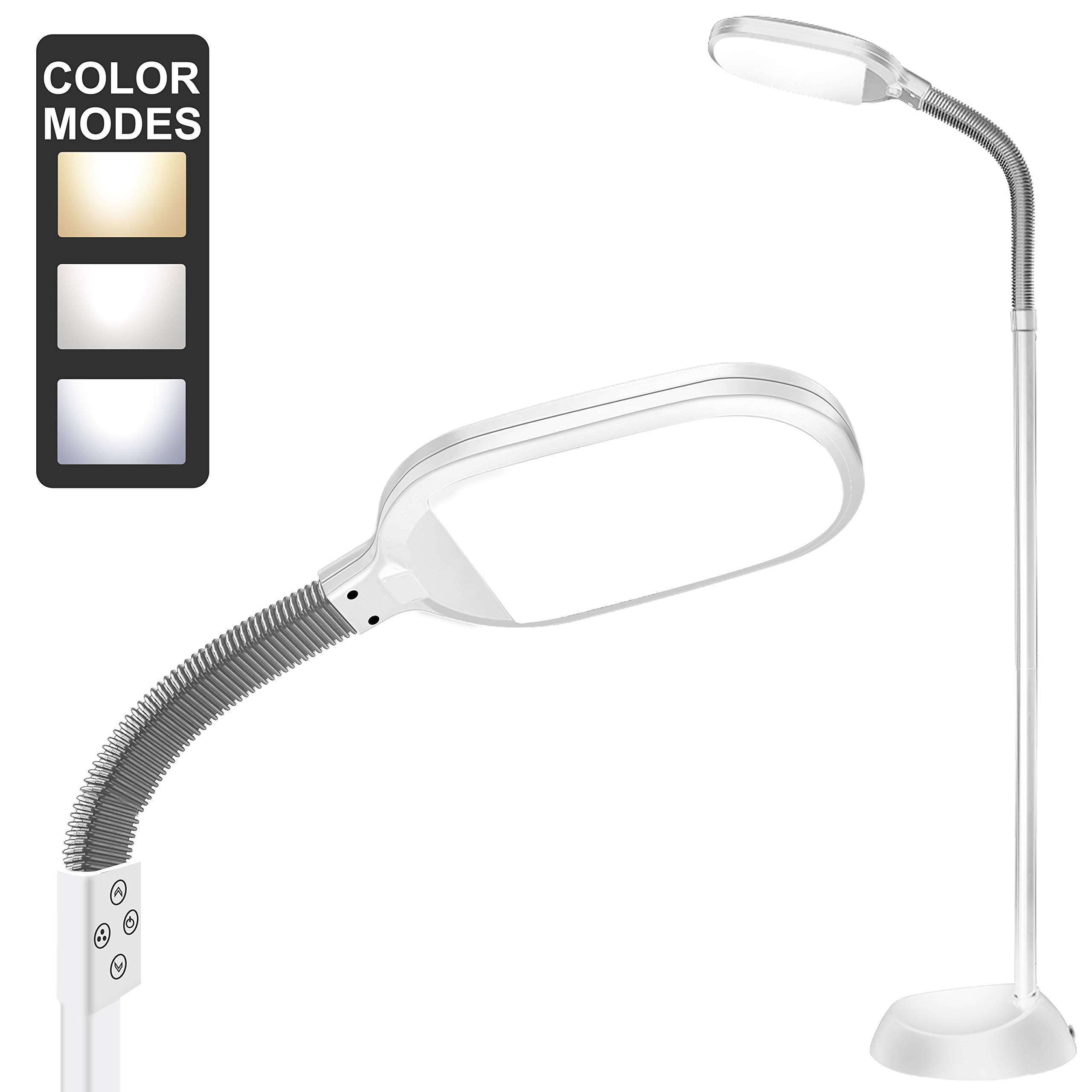 Floor Lamp, addlon Dimmable LED Floor Light with Color Adjustable with Touch Switch - LED Floor Lamps for Living Room - Standing Lamp with Gooseneck for Sewing Bedroom - Slim Pole lamp White