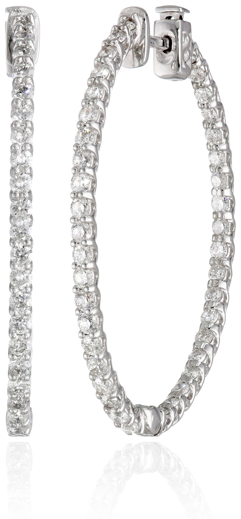 14kt White Gold Inside-Out Shared-Prong Diamond Oval Hoops (3 cttw, H-I Color, I1 Clarity)