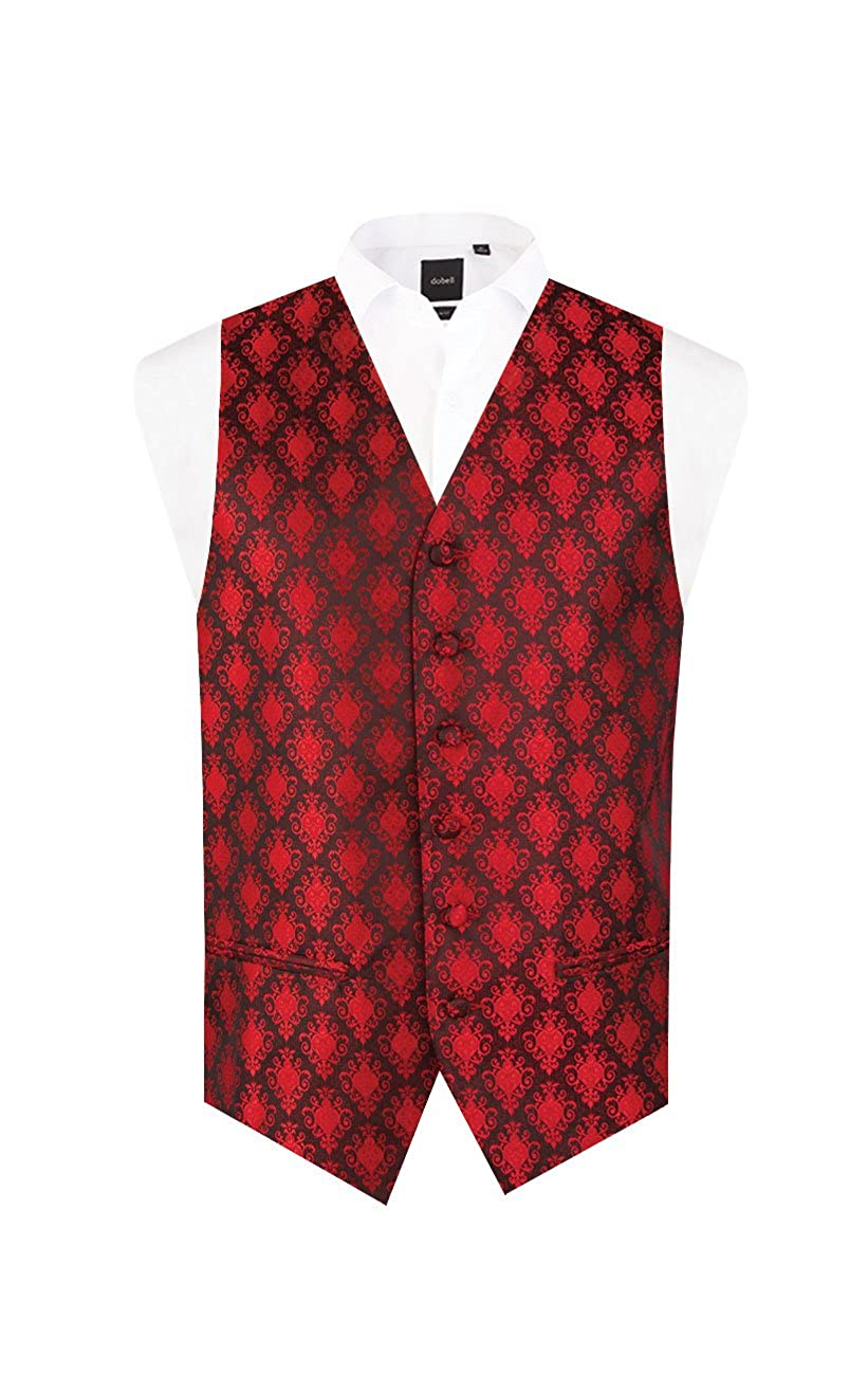 Dobell Mens Red Waistcoat Regular Fit Satin Feel Fabric 5 Button Jacquard Pattern Vest