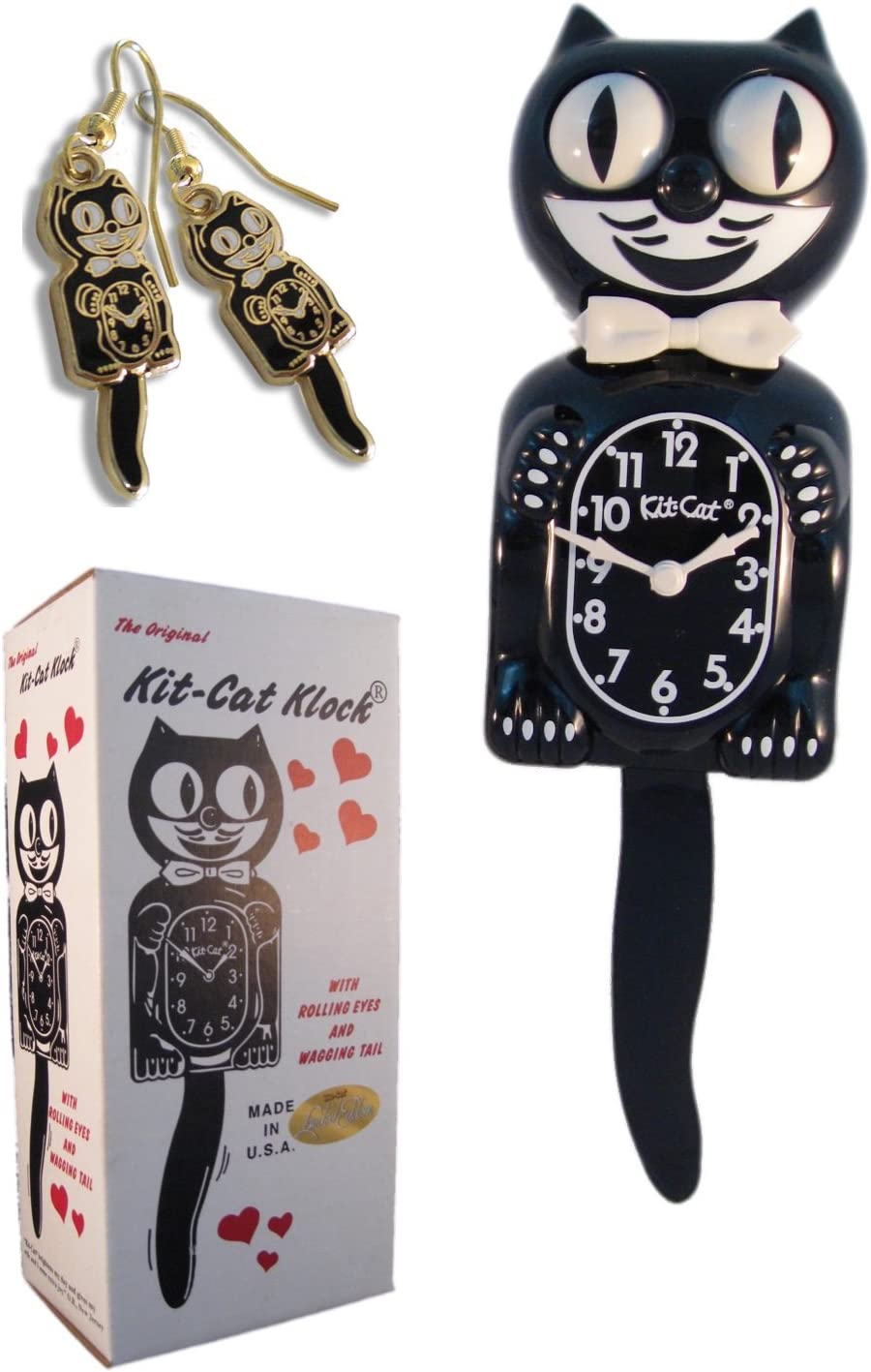 Kit Cat Klock Classic Vintage Black and Gold Black Earrings Set