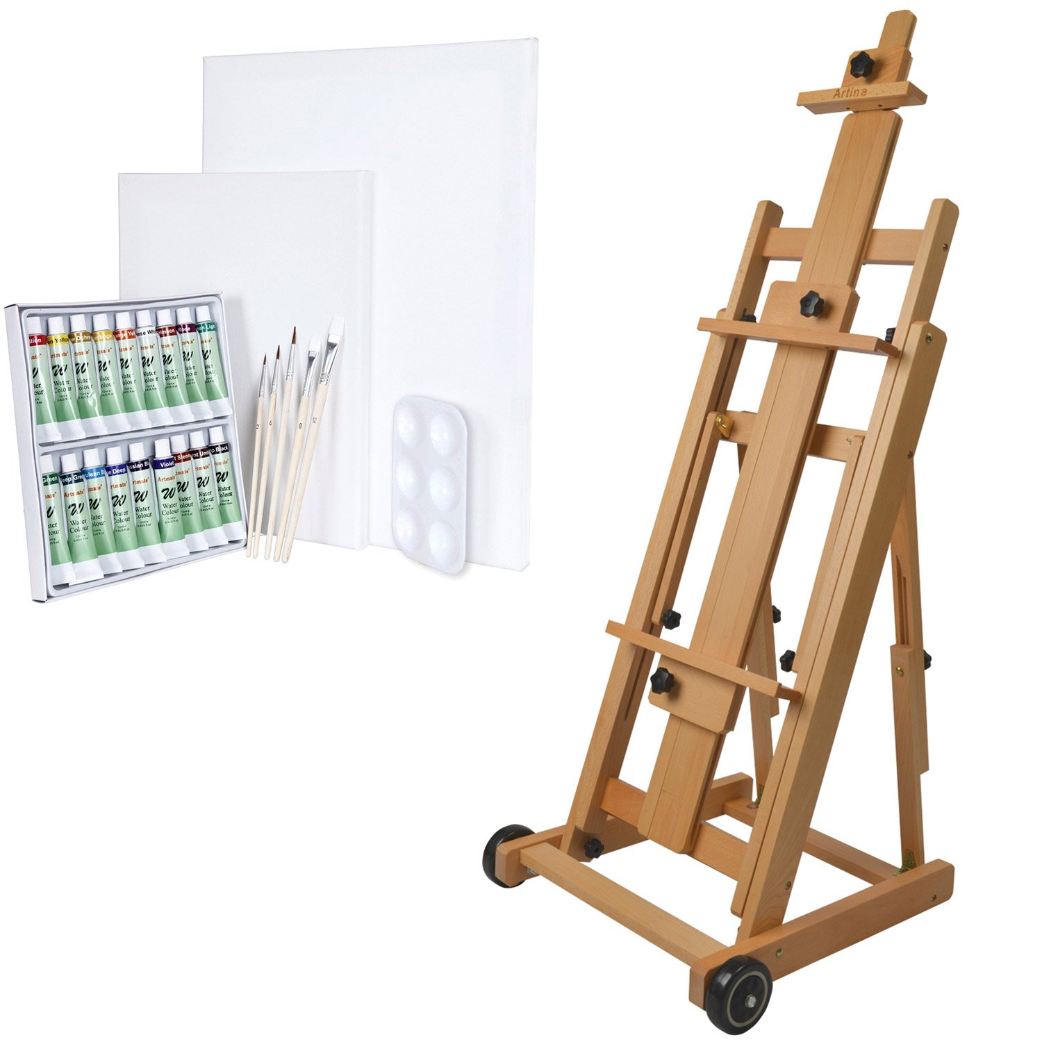 Artina Studio Easel Bordeaux - Beech-Wood - Artist Easel for Horizontal Painting and Display - 47.5x132(209) x49.5cm