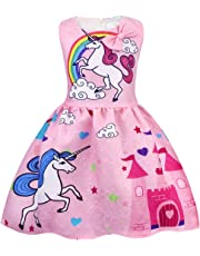 AmzBarley Girls Dresses Unicorn Costume Rainbow Dress Princess Birthday Party Casual Playwear Halloween Clothes Sleeveless Kids 2-10 Years