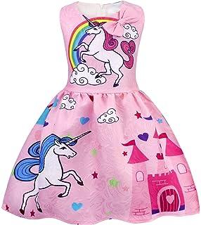 efddd27e276 AmzBarley Filles Licorne Habiller Robes Princesse sans Manches pour Les  Enfants Fête Déguisements