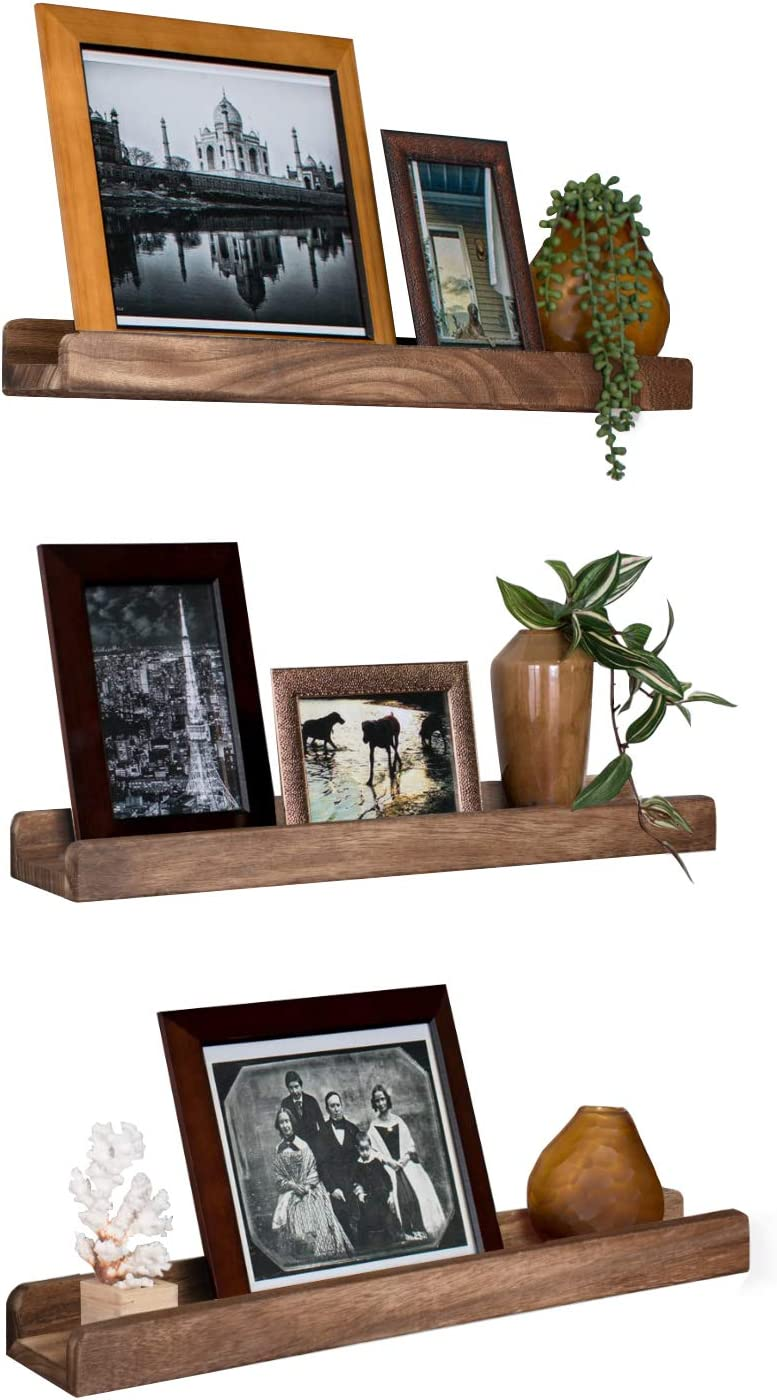 Amazon Com Emfogo Wall Shelves With Ledge 16 9 Inch Wood Picture Shelf Rustic Floating Shelves Set Of 3 For Storage And Display Carbonized Black Kitchen Dining