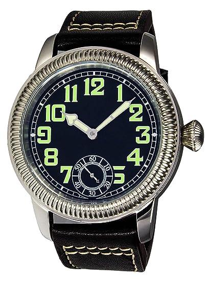 PARNIS 9058 clásica Planeador Reloj 44 mm de reloj de pulsera para hombre mecánico lumineszierend 316L de acero inoxidable correa de piel Seagull ST36 Marca ...